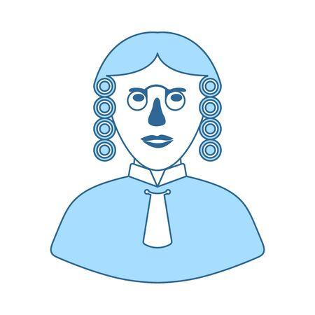 Judge Icon. Thin Line With Blue Fill Design. Vector Illustration.  イラスト・ベクター素材