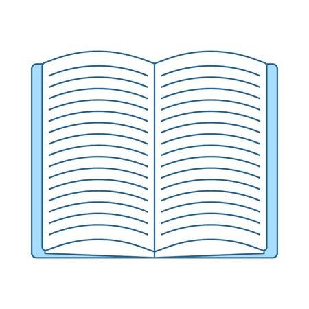 Open Book Icon. Thin Line With Blue Fill Design. Vector Illustration.