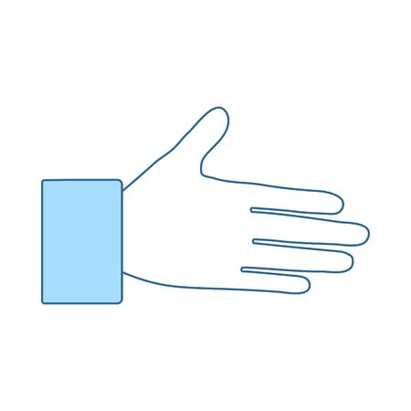 Open Hend Icon. Thin Line With Blue Fill Design. Vector Illustration.