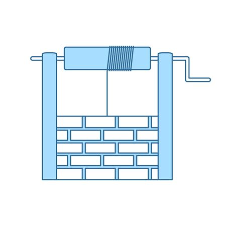 Well Icon. Thin Line With Blue Fill Design. Vector Illustration.