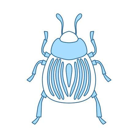 Colorado Beetle Icon. Thin Line With Blue Fill Design. Vector Illustration. Illusztráció