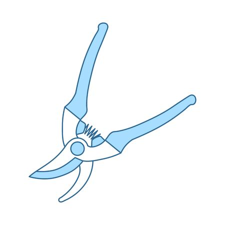 Garden Scissors Icon. Thin Line With Blue Fill Design. Vector Illustration.