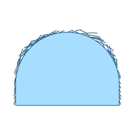 Hay Stack Icon. Thin Line With Blue Fill Design. Vector Illustration. Çizim