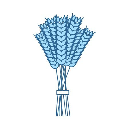 Wheat Icon. Thin Line With Blue Fill Design. Vector Illustration. Иллюстрация