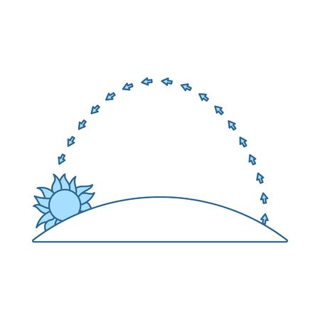 Sunset Icon. Thin Line With Blue Fill Design. Vector Illustration.