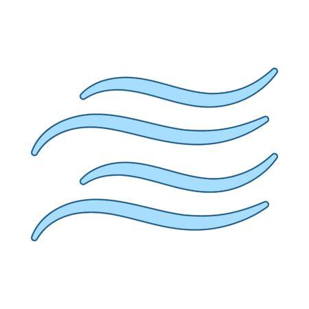 Water Wave Icon. Thin Line With Blue Fill Design. Vector Illustration. Illusztráció