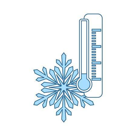 Winter Cold Icon. Thin Line With Blue Fill Design. Vector Illustration. Vektorové ilustrace