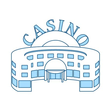 Casino Building Icon. Thin Line With Blue Fill Design. Vector Illustration.