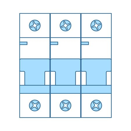 Circuit Breaker Icon. Thin Line With Blue Fill Design. Vector Illustration.