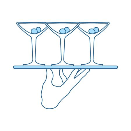 Waiter Hand Holding Tray With Martini Glasses Icon. Thin Line With Blue Fill Design. Vector Illustration.
