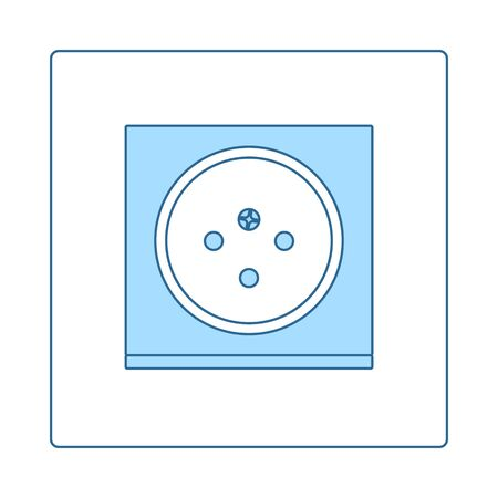 South Africa Electrical Socket Icon. Thin Line With Blue Fill Design. Vector Illustration.