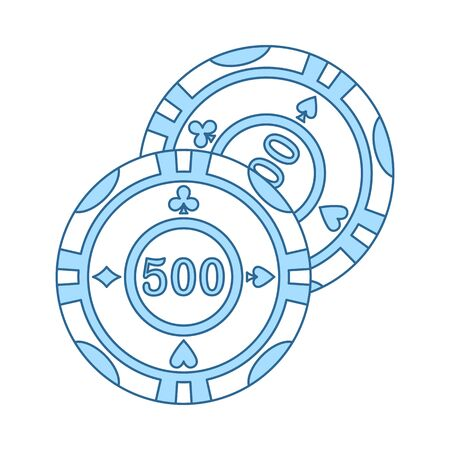 Casino Chips Icon. Thin Line With Blue Fill Design. Vector Illustration. Çizim