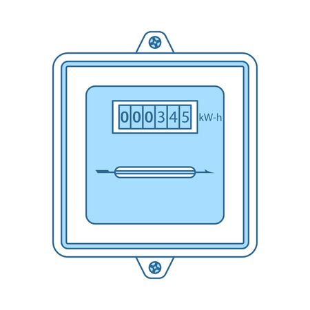 Electric Meter Icon. Thin Line With Blue Fill Design. Vector Illustration.