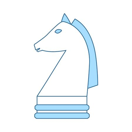 Chess Horse Icon. Thin Line With Blue Fill Design. Vector Illustration. Illusztráció