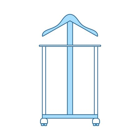 Hanger Stand Icon. Thin Line With Blue Fill Design. Vector Illustration.