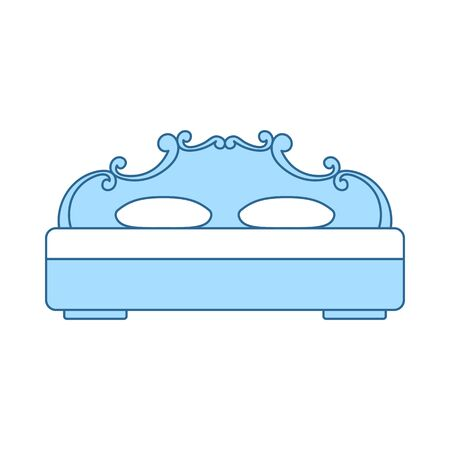 King-size Bed Icon. Thin Line With Blue Fill Design. Vector Illustration.