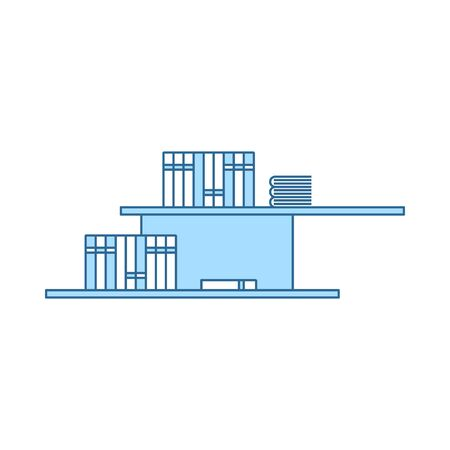 Wall Bookshelf Icon. Thin Line With Blue Fill Design. Vector Illustration.