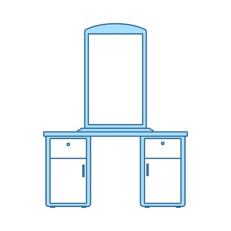 Dresser With Mirror Icon. Thin Line With Blue Fill Design. Vector Illustration.