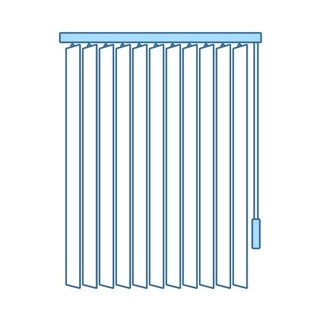 Office Vertical Blinds Icon. Thin Line With Blue Fill Design. Vector Illustration.
