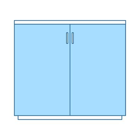 Office Cabinet Icon. Thin Line With Blue Fill Design. Vector Illustration.