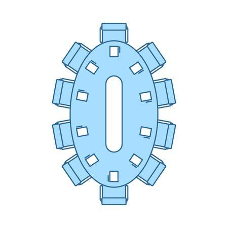 Icône De Table De Négociation. Ligne fine avec motif de remplissage bleu. Illustration vectorielle. Vecteurs