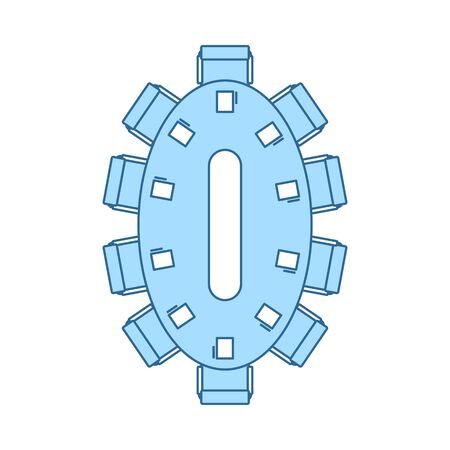Negotiating Table Icon. Thin Line With Blue Fill Design. Vector Illustration.
