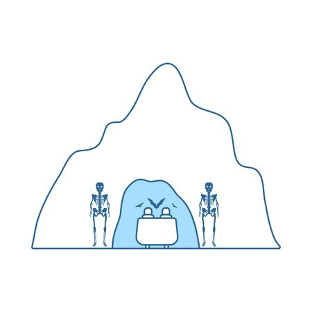 Scare Cave Icon. Thin Line With Blue Fill Design. Vector Illustration.