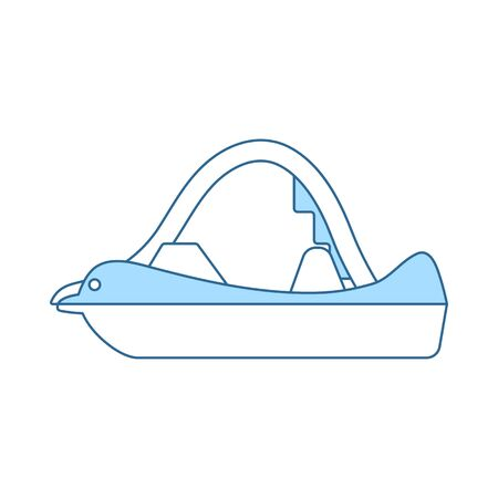 Catamaran Icon. Thin Line With Blue Fill Design. Vector Illustration.