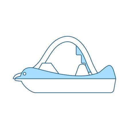 Katamaran-Symbol. Dünne Linie mit blauem Fülldesign. Vektor-Illustration.
