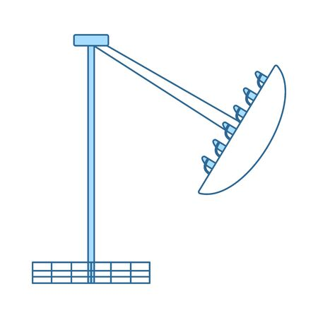 Boat The Carousel Icon. Thin Line With Blue Fill Design. Vector Illustration.