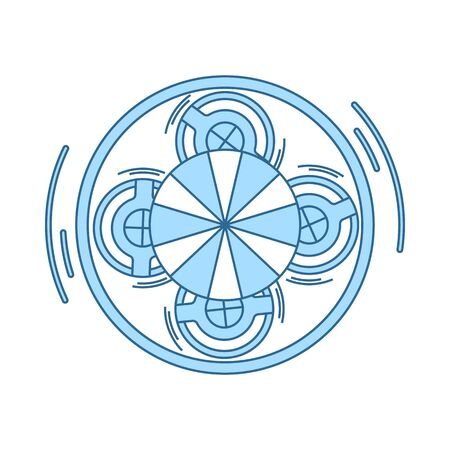 Carousel Top View Icon. Thin Line With Blue Fill Design. Vector Illustration. Иллюстрация