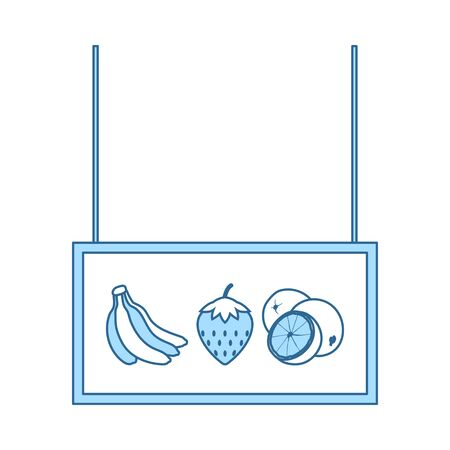 Fruits Market Department Icon. Thin Line With Blue Fill Design. Vector Illustration.