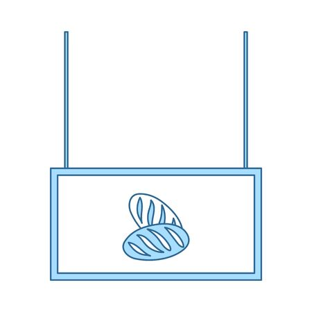 Bread Market Department Icon. Thin Line With Blue Fill Design. Vector Illustration.