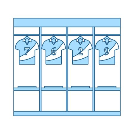 Locker Room Icon. Thin Line With Blue Fill Design. Vector Illustration.