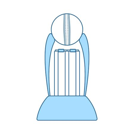 Cricket Cup Icon. Thin Line With Blue Fill Design. Vector Illustration.