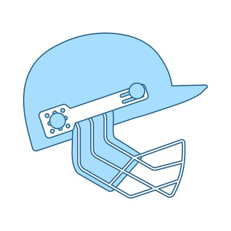 Cricket Helmet Icon. Thin Line With Blue Fill Design. Vector Illustration.