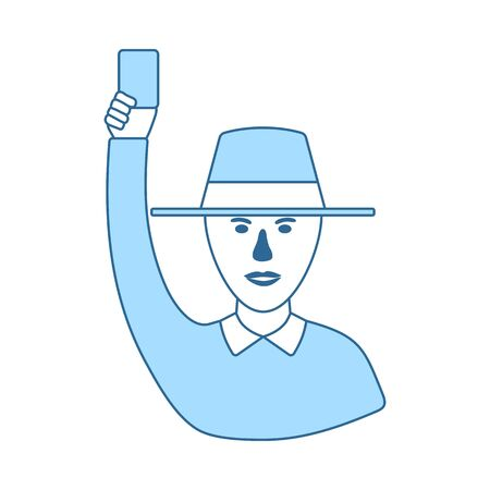Cricket Umpire With Hand Holding Card Icon. Thin Line With Blue Fill Design. Vector Illustration. 向量圖像