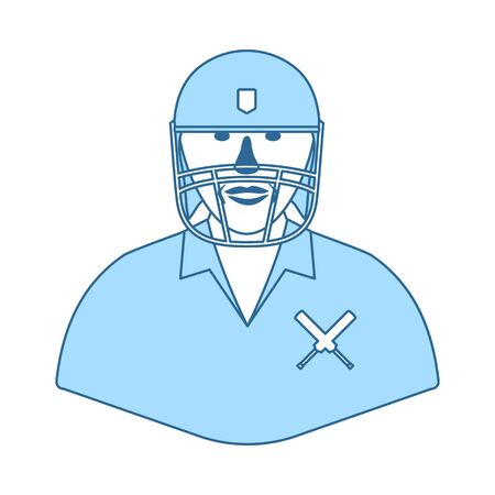 Cricket Player Icon. Thin Line With Blue Fill Design. Vector Illustration. Ilustracja