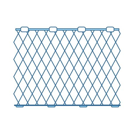 Icon Of Fishing Net. Thin Line With Blue Fill Design. Vector Illustration. Illustration