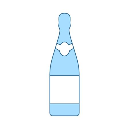 Party Champagne And Glass Icon. Thin Line With Blue Fill Design. Vector Illustration. Çizim