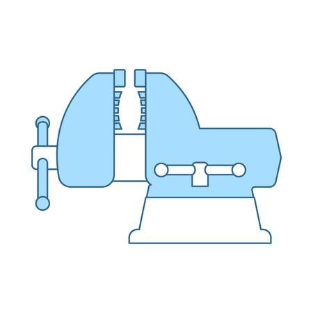 Vise Icon. Thin Line With Blue Fill Design. Vector Illustration. Illustration