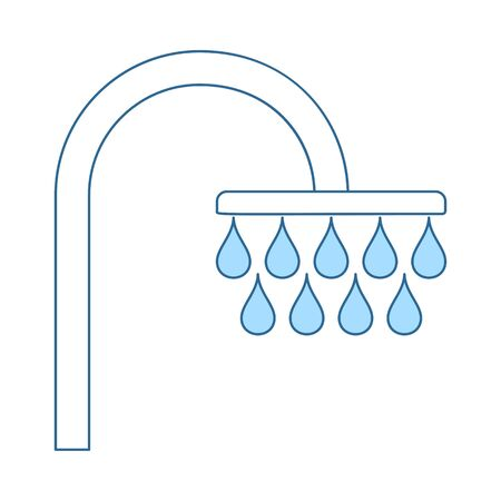 Shower Icon. Thin Line With Blue Fill Design. Vector Illustration.  イラスト・ベクター素材