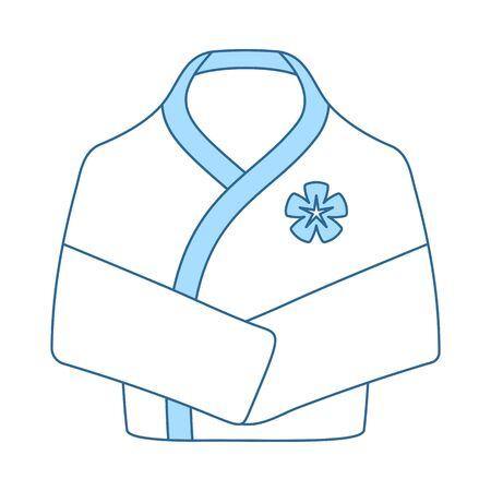 Spa Bathrobe Icon. Thin Line With Blue Fill Design. Vector Illustration.