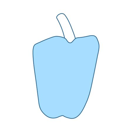 Pepper Icon. Thin Line With Blue Fill Design. Vector Illustration.