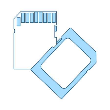 Memory Card Icon. Thin Line With Blue Fill Design. Vector Illustration.  イラスト・ベクター素材