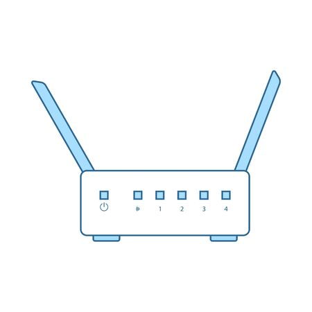 WiFi Router Icon. Thin Line With Blue Fill Design. Vector Illustration.