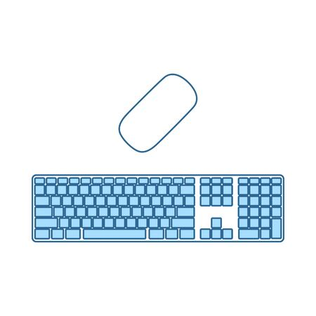 Keyboard Icon. Thin Line With Blue Fill Design. Vector Illustration.