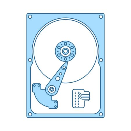 HDD Icon. Thin Line With Blue Fill Design. Vector Illustration.