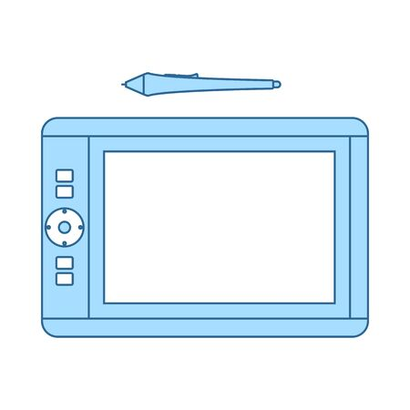 Graphic Tablet Icon. Thin Line With Blue Fill Design. Vector Illustration.