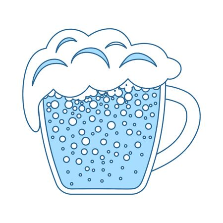 Mug Of Beer Icon. Thin Line With Blue Fill Design. Vector Illustration.